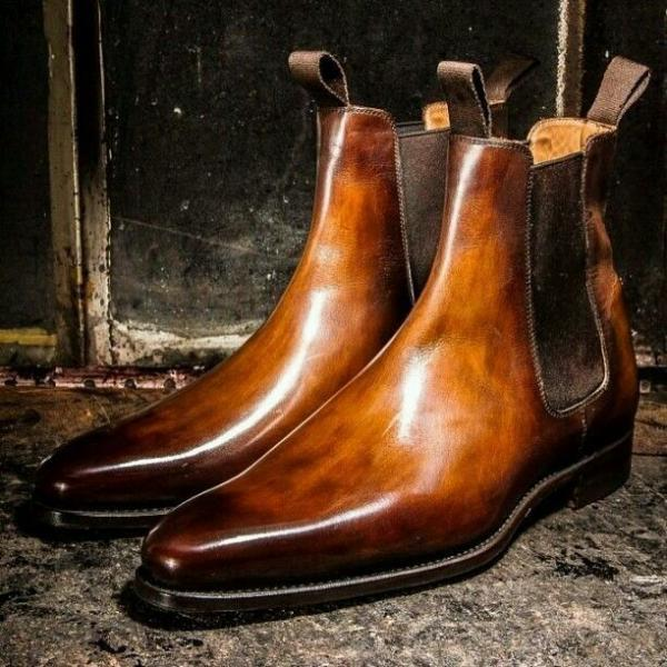 New Handmade Men Chelsea Brown Leather Ankle High Dress Formal Boots