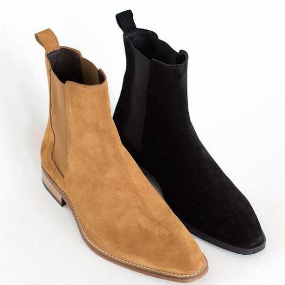 New Handmade Men Tan Suede Chelsea Dress Formal Boots