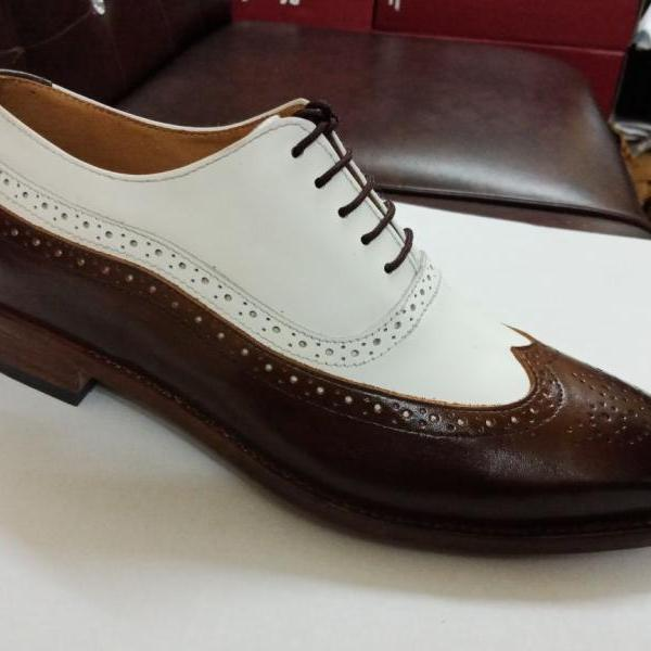 New Handmade Men Two Tone Wing Tip Brogue Leather Dress Formal Shoes
