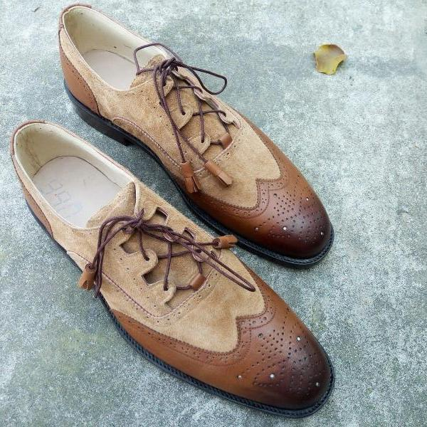 New Handmade Men Two Tone Wing Tip Brogue Leather & Suede Shoes