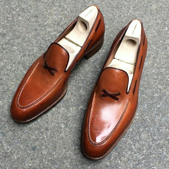 New Handmade Men Tan Brown Leather Formal Moccasins