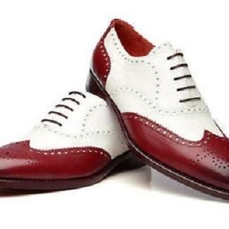 New Handmade Men Two Tone wing Tip Brogue Leather formal shoes
