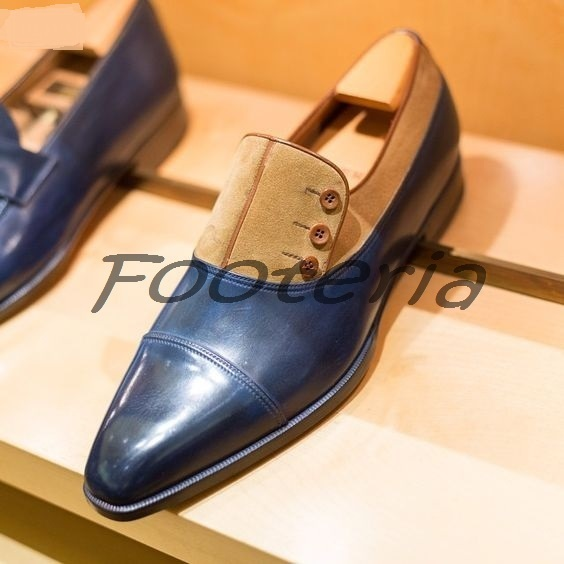 New Handmade Men Cap Toe Two Tone Navy Blue Dress Formal Shoes
