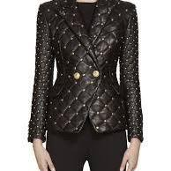 New Handmade Woman Golden Balmain Studded Quilted Cowhide Leather Coat