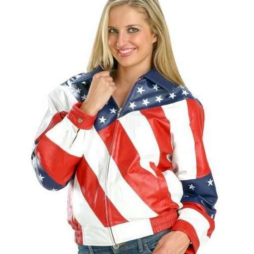 New Handmade Womens American Flag Leather Jacket