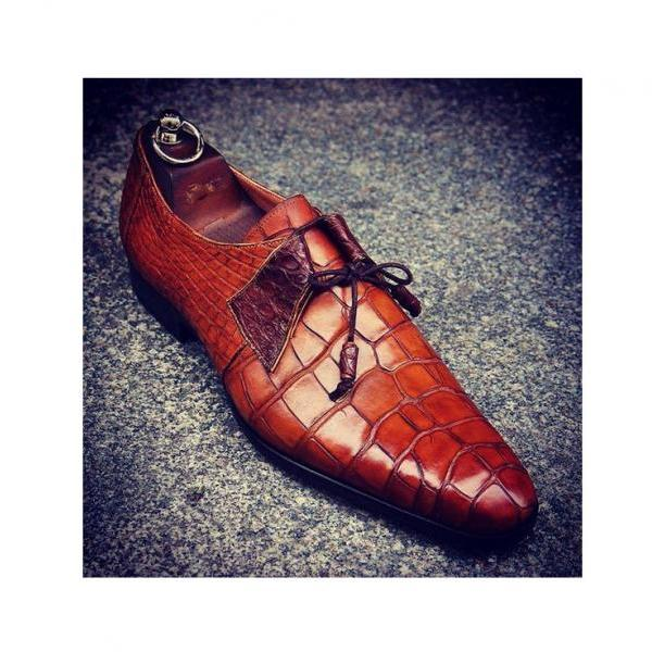 Men's Handmade Leather Shoes, Formal Crocodile Texture Leather Men Brown Shoe