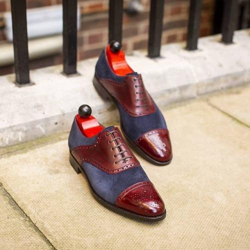 Men Lace-up Burgundy Calf & Navy Suede Leather Shoes,Oxford Two tone shoe