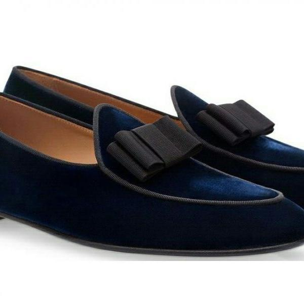 Handmade navy blue shoes, velvet casual shoes, Men's moccasin slip on Party shoe