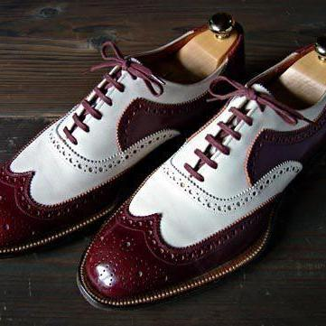 Handmade Brown White Color Leather Shoes, Men's Lace Up Wing Tip Brogue Formal Shoes