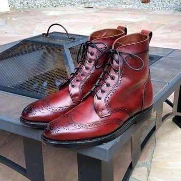 Handmade Wing Tip Brogue Lace Up Boot, Men's Burgundy Color Leather Ankle High Boot