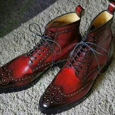 Handmade Wing Tip Brogue Lace Up Boot, Men's Burgundy Black Color Leather Ankle High Boot