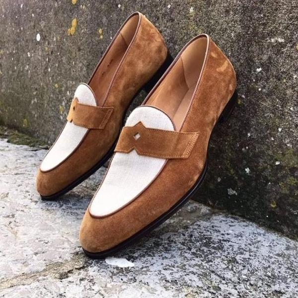 Handmade Men's White Brown Color Loafer Moccasins Shoes, Men's Suede Fashion Shoes