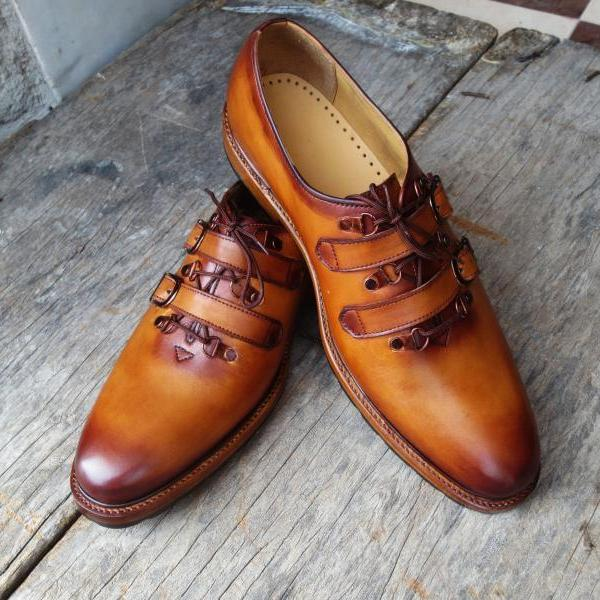 Handmade Tan Color Leather Shoes, Men's Lace Up Strap Derby Formal Shoes