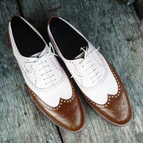Handmade 2 Tone Dark Brown White Leather Shoes, Men's Lace Up Wing Tip Designing Shoes