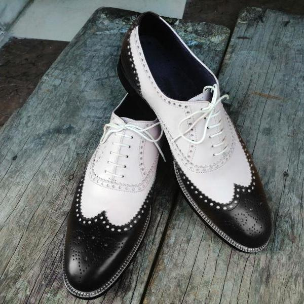 Handmade 2 Tone Black White Leather Shoes, Men's Lace Up Wing Tip Designing Shoes