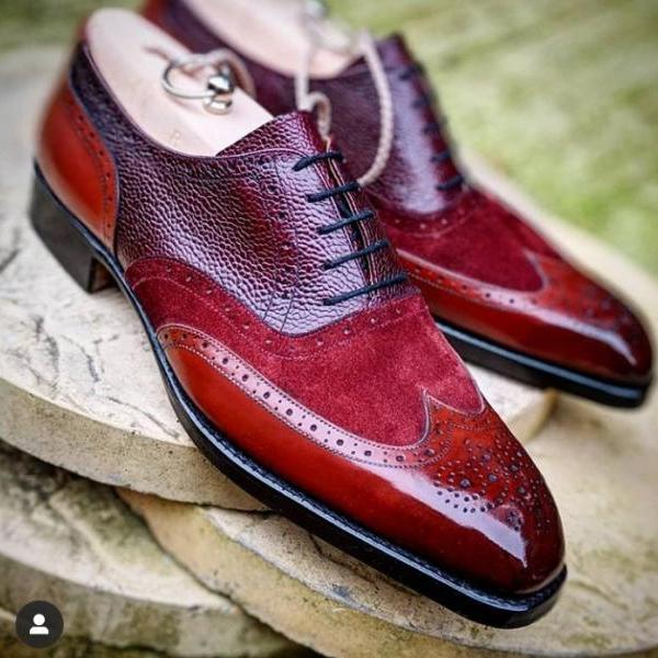 Handmade Burgundy Leather Alligator Suede Shoes, Men's Lace Up Wing Tip Brogue Shoes