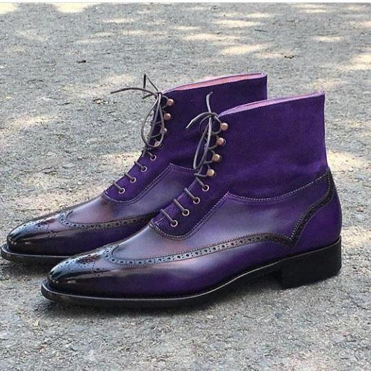 Handmade Lace Up Leather Suede Boot, Men's Purple Color Ankle High Wing Tip Brogue Boot