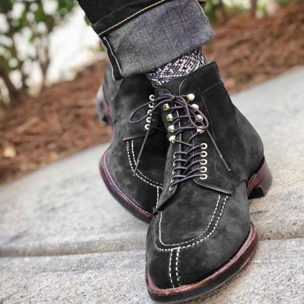 Handmade Lace Up Suede Boot, Men's Black Color Ankle High Split Toe Boot