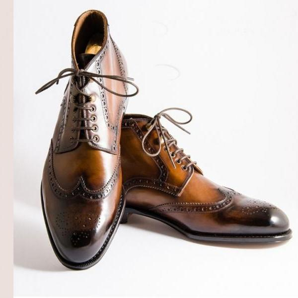 Handmade Cognac Black Leather Shoes, Men's Lace Up Wing Tip Brogue Shoes