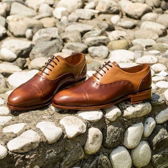 Handmade Cap Toe Lace Up Type Tan Brown Color Leather Shoes Men's