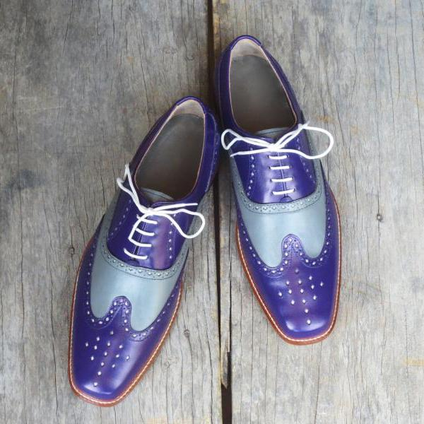 Handmade Wing Tip Lace Up Type Gray Blue Leather Brogue Shoes Men's
