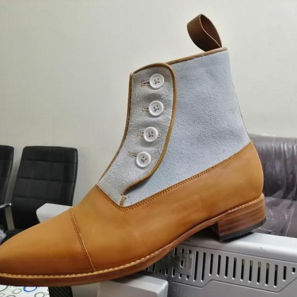Handmade Leather Suede Cap Toe Boot Men's Button Top Ankle Boot, Dress Formal