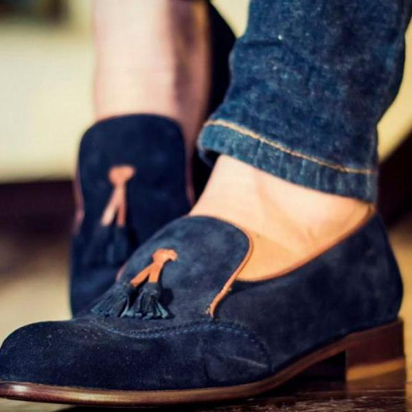 Handmade Blue Men's Suede Tussles Loafers Shoes For Men's