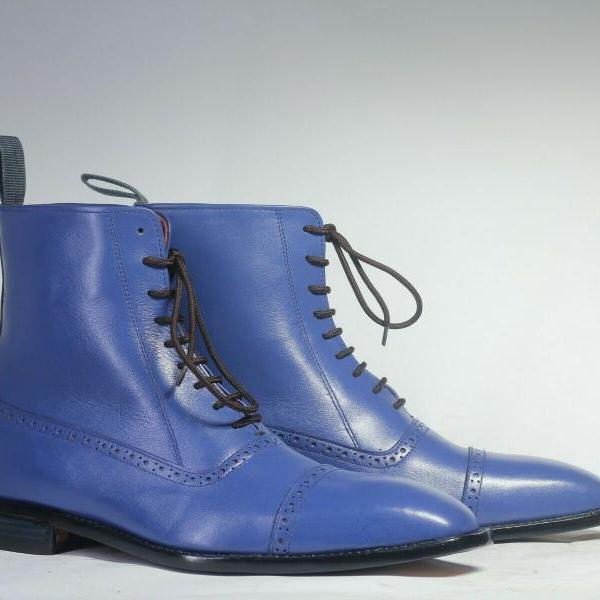 Hand Crafted Blue Cap Toe Lace Up Boot, Men's Leather Ankle Boot