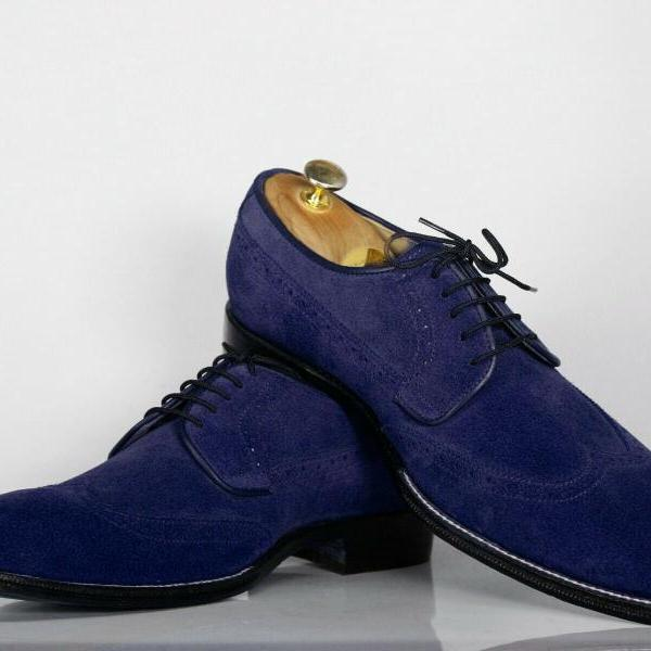 Handmade Navy Blue Suede Stylish Shoes, Men's Lace Up Wing Tip Designing Shoes