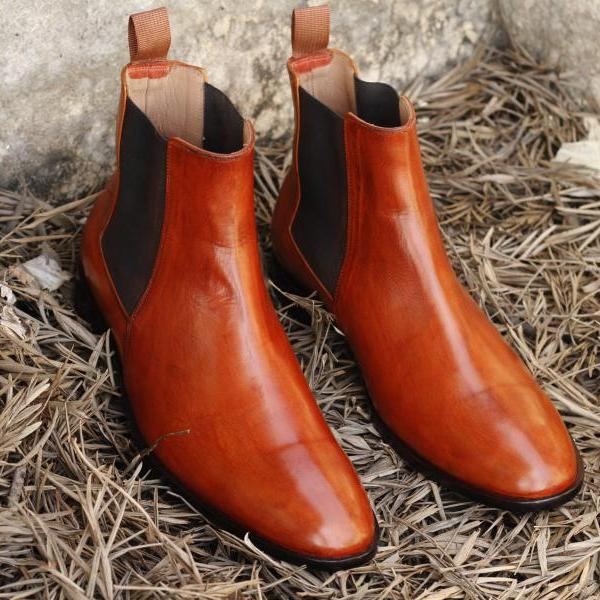 New Handmade Men Tan Leather Chelsea Dress Formal Shoes