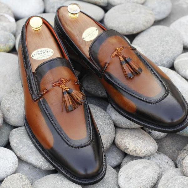 Handmade Two Tone Brown Tussles Loafers Leather Lace Up Shoes For Men's