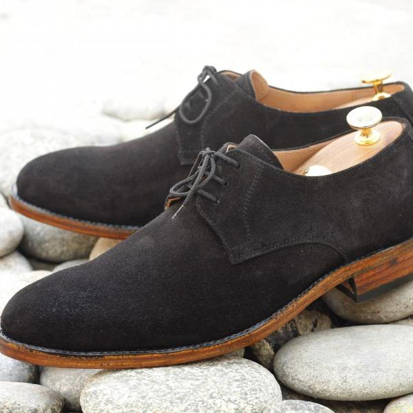 Hand stitched Suede Black Whole cut Oxford Dress Formal Shoes Men