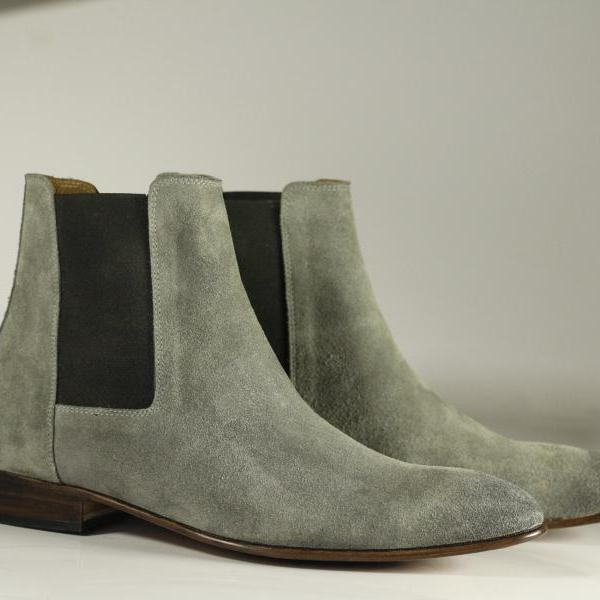 Handmade Men Gray Chelsea Boot, Men Gray Suede Leather Boot, Dress Boot