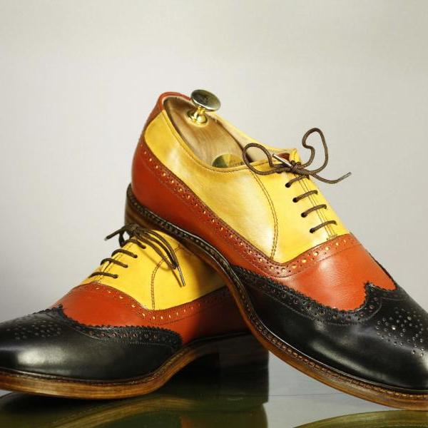 Handmade Multi Color Wing Tip Brogue Lace Up Leather Men's For Shoes