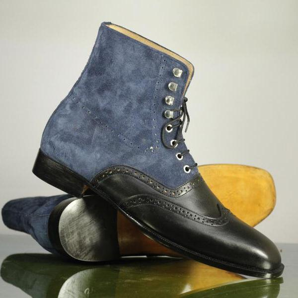 Hand Crafted Black Blue Wing Tip Lace Up Boot, Men's Leather Suede Ankle Dress Boot