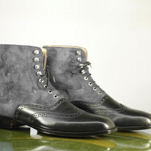 Hand Crafted Black Wing Tip Lace Up Boot, Men's Leather Suede Ankle Dress Boot
