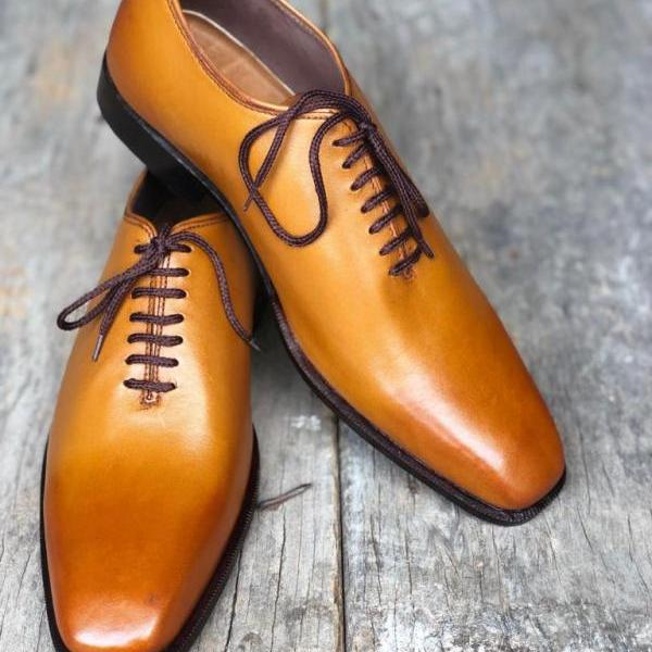 Handmade Tan Shoes, Leather Shoes, Men Formal Shoes, Dress Shoes,Lace Up Shoes
