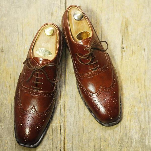 Handmade Brown Leather Shoes, Men's Lace Up Wing Tip Brogue Formal Shoes