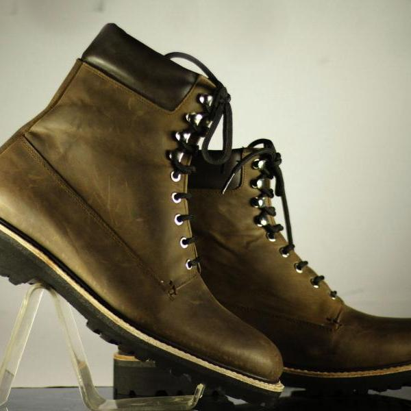 Handmade Men Vintage Brown Ankle High Boot, Men Genuine Leather Boot