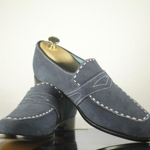 Hand Crafted Gray Suede Men's Penny Loafers Slip on Shoes