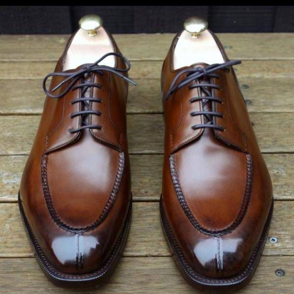 Men's Brown Leather Handmade Split Toe Lace Up Stylish Shoes