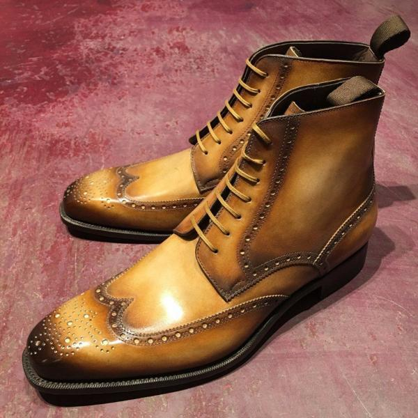 Handmade Tan Leather Boot Men's Dress Designer Wing Tip Brogue Lace Up Boot
