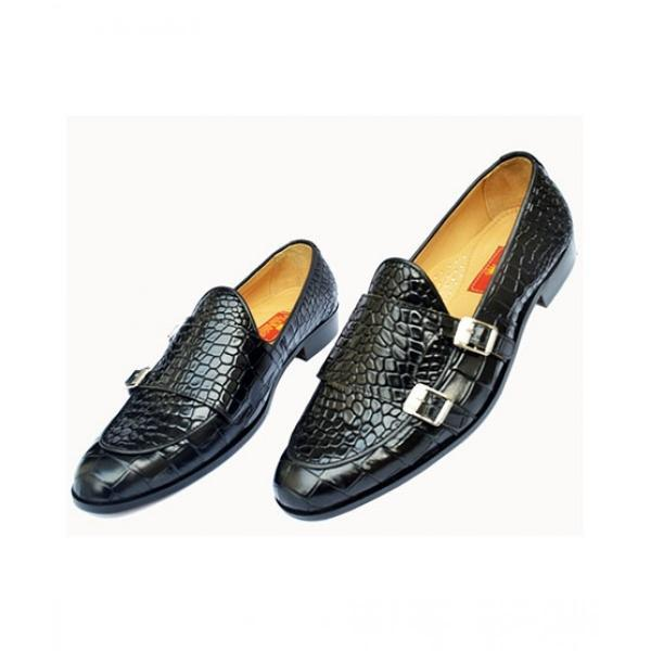 Handmade Black Alligator Leather Casual Shoes, Men's Double Monk Oxford Shoes