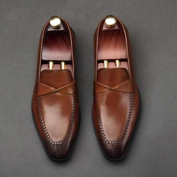 Handmade Brown Leather Shoes, Men's Penny Loafers Moccasin Dress Shoes