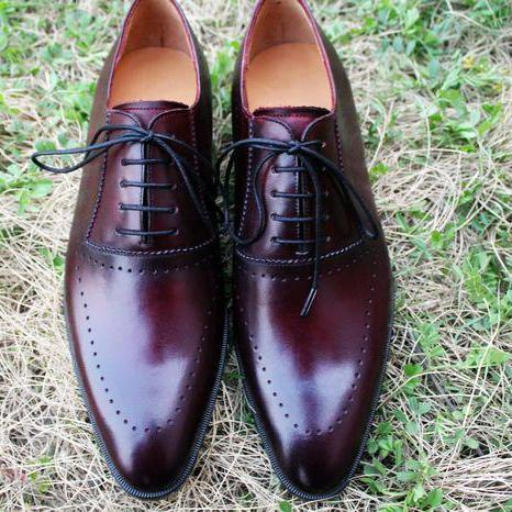 Men Handmade Stylish Burgundy Leather Lace Up Personality Shoes Oxford Shoes