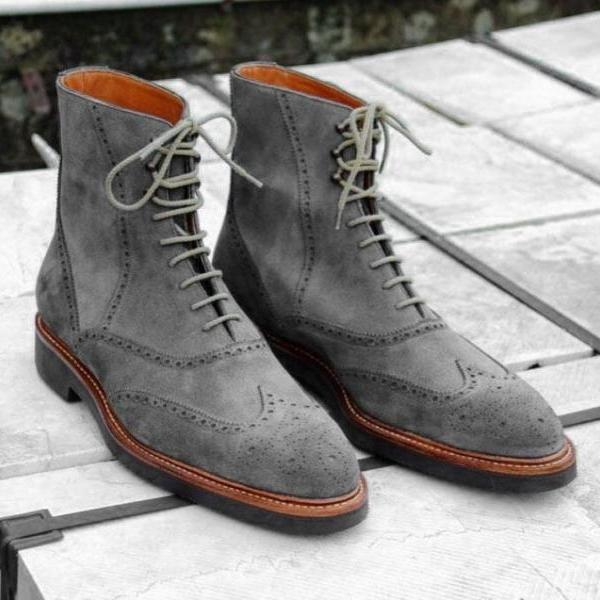 Handmade Gray Suede Boot Men's Dress Designer Wing Tip Lace Up Boot