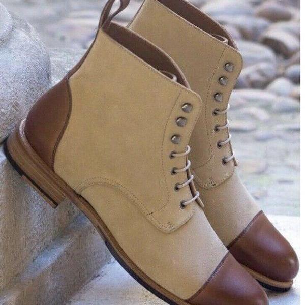 Handmade Beige & Brown Leather Boot Men's Dress Designer Cap Toe Lace Up Boot