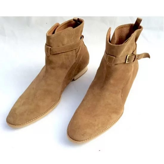 Handmade Beige Suede Jodhpurs Ankle Boot Men's Dress Designer Oxford Boot
