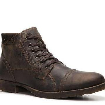 Handmade Brown Vintage Leather Boot Men's Dress Designer Cap Toe Lace Up Boot