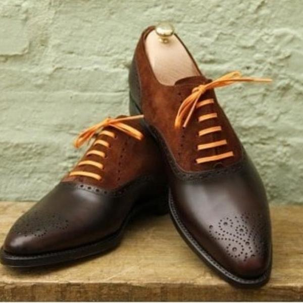 Handmade Brown Brogue Toe Lace Up Leather Shoes, Stylish Dress Formal Shoes